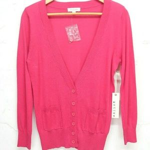 NWT Women Active Pink Soft Button Cardigan Sweater